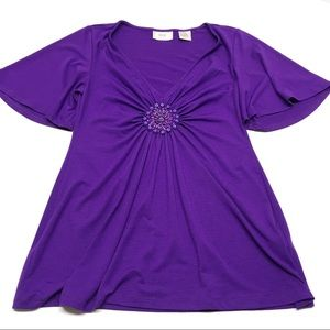 ❤️ Purple Ruched Beaded Flutter Sleeve Blouse